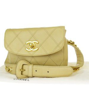 CHANEL CC Logo Quilted Chain Bum Bag Belt Leather